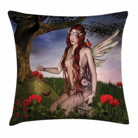 Fantasy Throw Pillow Cushion Cover, Redhead Fairy with Wings Holding a Butterfly Catcher Lantern Surrounded by Poppies, Decorative Square Accent Pillow Case, 18 X 18 Inches, Multicolor, by