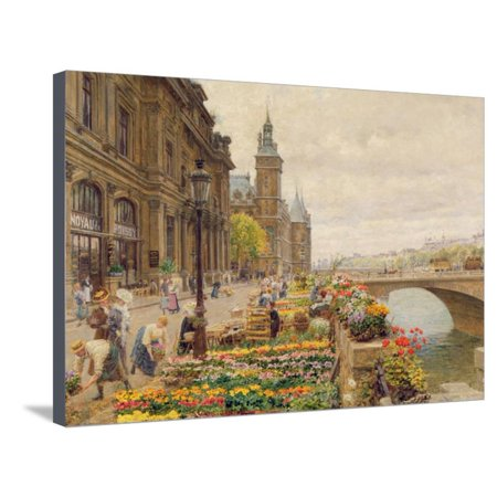- The Parisian Flower Market Traditional French Street Scene Urban Paris Landscape Art Stretched Canvas Print Wall Art By Marie Francois Firmin-Girard