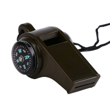 OUTAD Plastic 3 in1 Whistle Compass Thermometer For Outdoor Emergency Gear Camping olive green - image 6 of 8