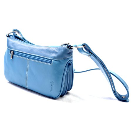 Tony Perotti Italian Leather Handbag Simple Classic Everyday Hobo/Handbag in Aqua Blue