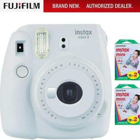 Fujifilm Instax Mini 9 Instant Camera - Smokey White (16550629) w/ Fujifilm INSTAX MINI 40 Sheets of Instant
