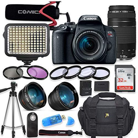 Canon EOS Rebel T7I Digital SLR Camera with Canon EF-S 18-55mm & 75-300mm III Lens + Video LED Light + Video Pro Microphone + Sandisk 32GB SDHC Memory Card, Camera Bag (Complete Video Bundle)