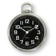 Men's Railroad Open Face Silver-Tone Analog Quartz Pocket Watch with Chain # GWC15022SB