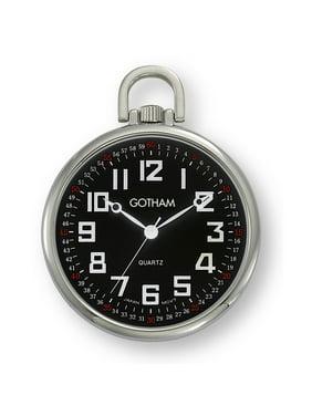 11842002b06e0 Product Image Men s Railroad Open Face Silver-Tone Analog Quartz Pocket  Watch with Chain   GWC15022SB