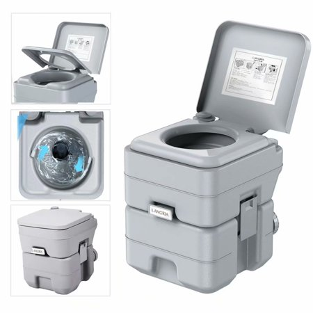LANGRIA Portable Toilet, 5.3 Gallon 50 Flushes Porta Potti Outdoor Indoor Travel Camping Portable Toilet for Car, Boat, Caravan, Campsite,