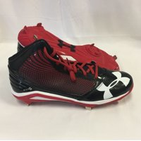 8697d1ac29a4 Product Image NEW Mens Under Armour Team Yard Mid ST Baseball Cleats Black/ Red/White Sz