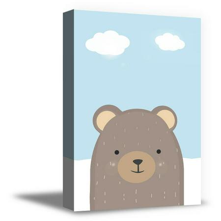 Awkward Styles Bear Canvas Decor Sky Poster Bear Printed Kids Room Dec