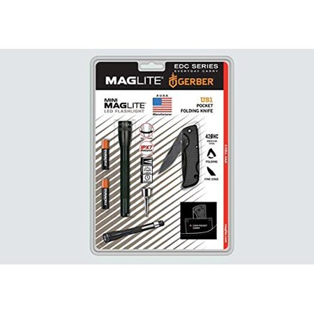 Mini Maglite AAA LED Flashlight IPX7 / Gerber US1 Folding Pocket Knife 420HC American Steel  (Made in USA)