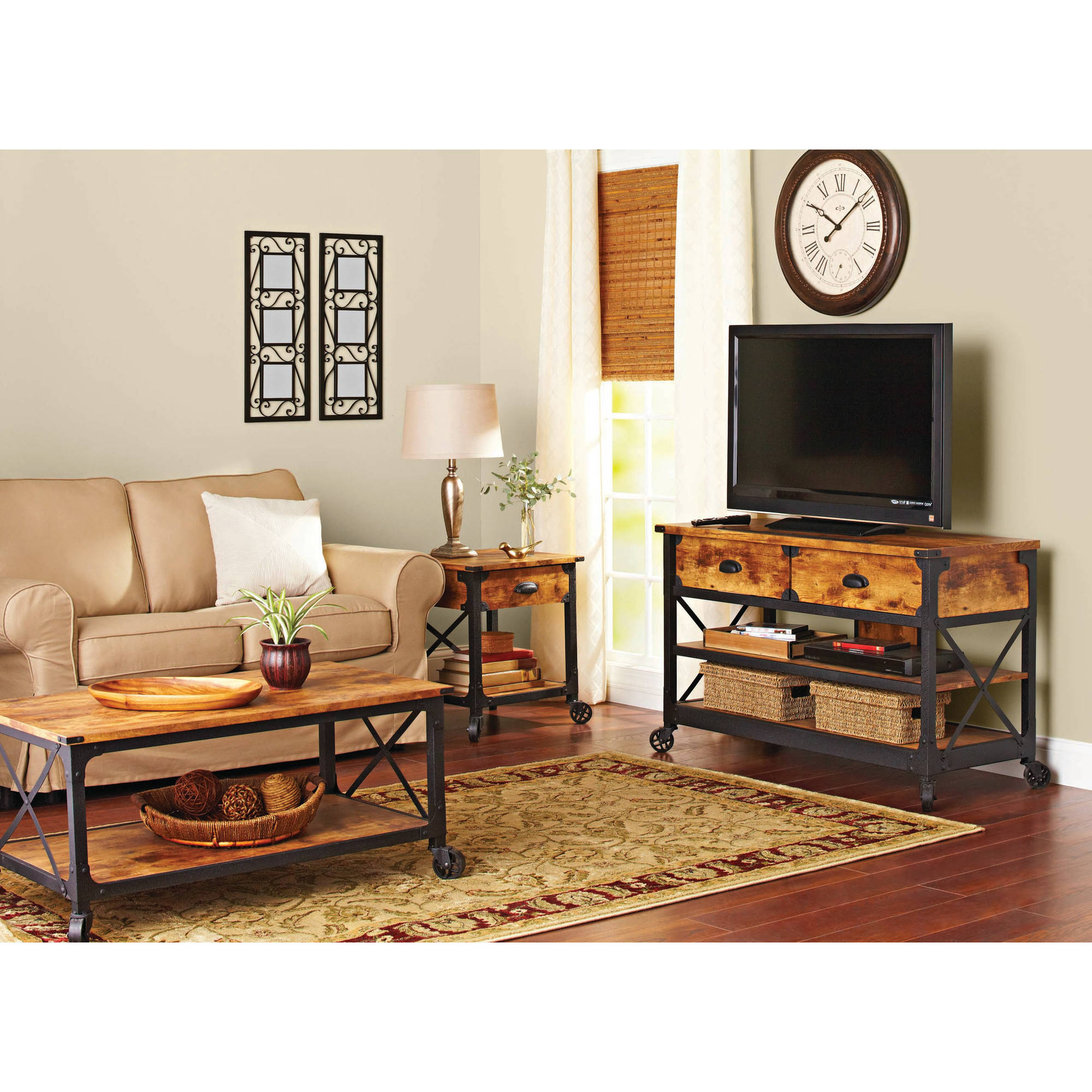 Better homes and gardens rustic country antiqued blackpine panel better homes and gardens rustic country antiqued blackpine panel tv stand for tvs up to 52 walmart geotapseo Gallery
