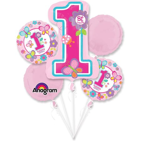 Sweet 1st Birthday Girl Balloon Bouquet (Each) - Party Supplies