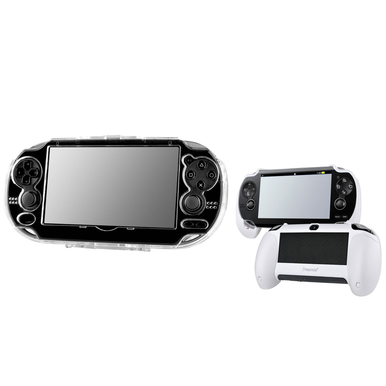 Insten Snap-On Crystal Hard Case Cover+White Hand Grip For Sony Playstation PS Vita