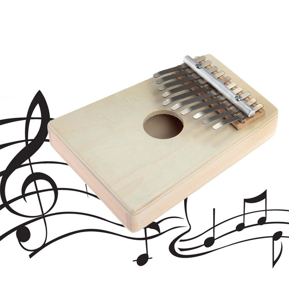 10 Keys Kalimba Mbira Likembe Sanza Thumb Piano Pine Light Yellow Instrument Hot Selling New Brand
