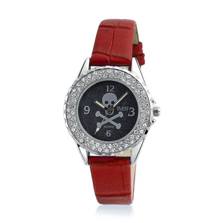 Caribbean Pirate Skull Crossbones Black Round White Dial Crystal Bezel Wrist Watch Women Biker Goth Red Leather (Band Bezel Wrist Watch)