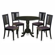 East West Furniture Dublin 5 Piece Drop Leaf Dining Table Set with Buckland Faux Leather Seat Chairs