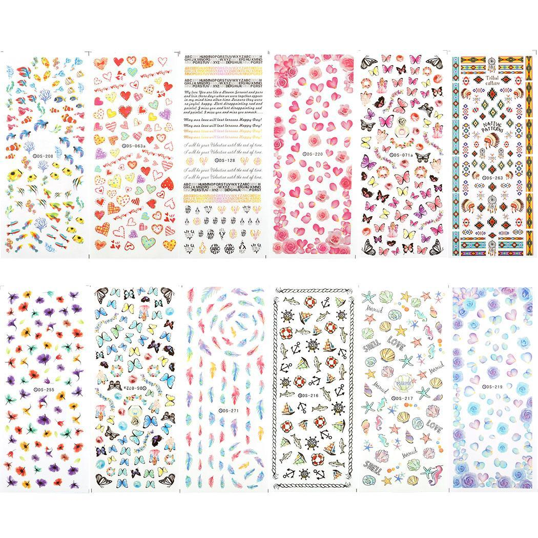 12 Sheet Nali Art Nail Stickers Water Transfer Nails Sticker Colorful Nails Wraps Decals OCTAP
