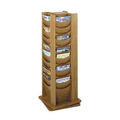 safco products 4335mo solid wood rotating display, 48 pocket, medium oak (48 Pocket Solid Wood)