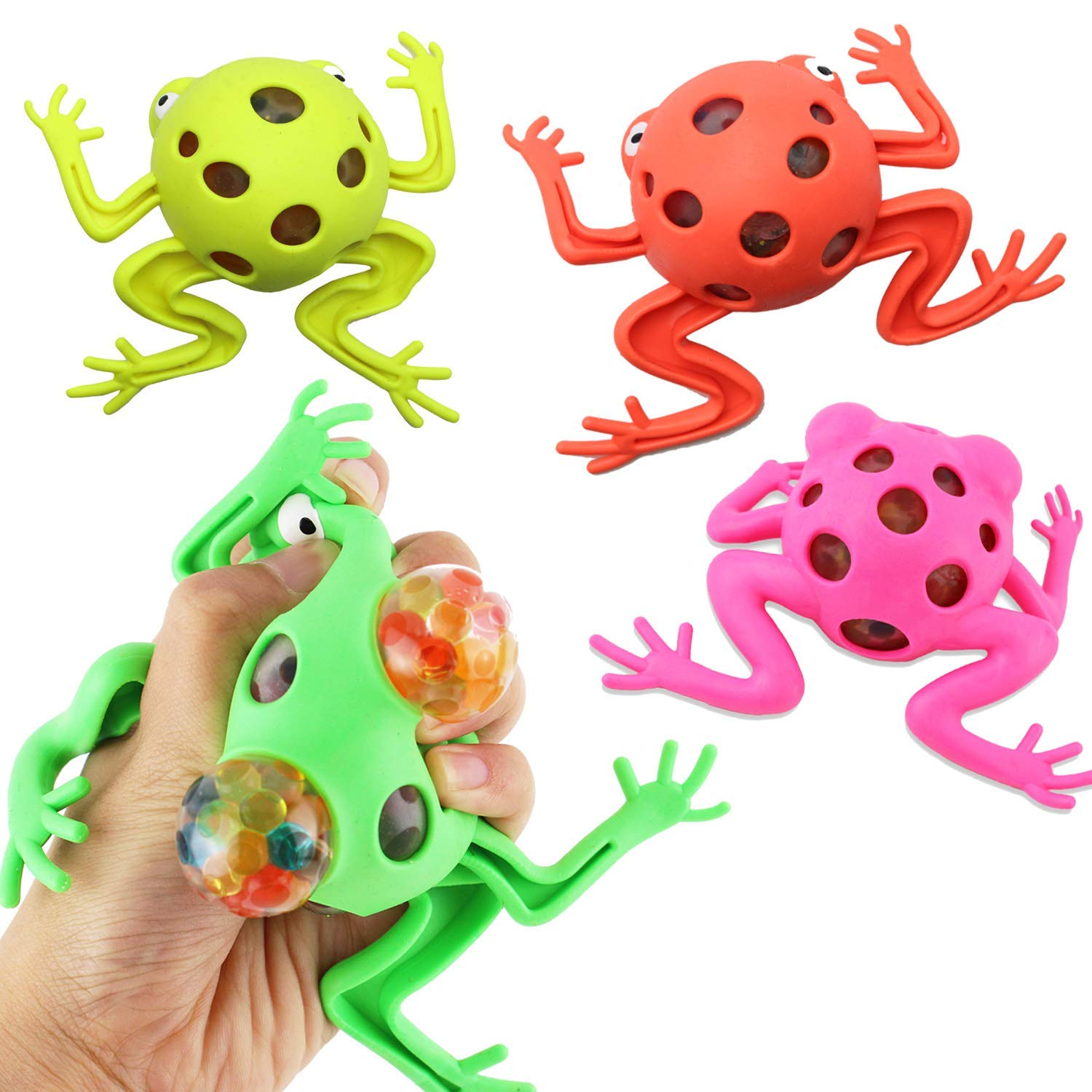 4 Pack Frog Squeeze Ball Toy Jelly Water Bead Grape Ball Stress