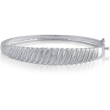 - Diamond Accent Silvertone S Design Fashion Bangle