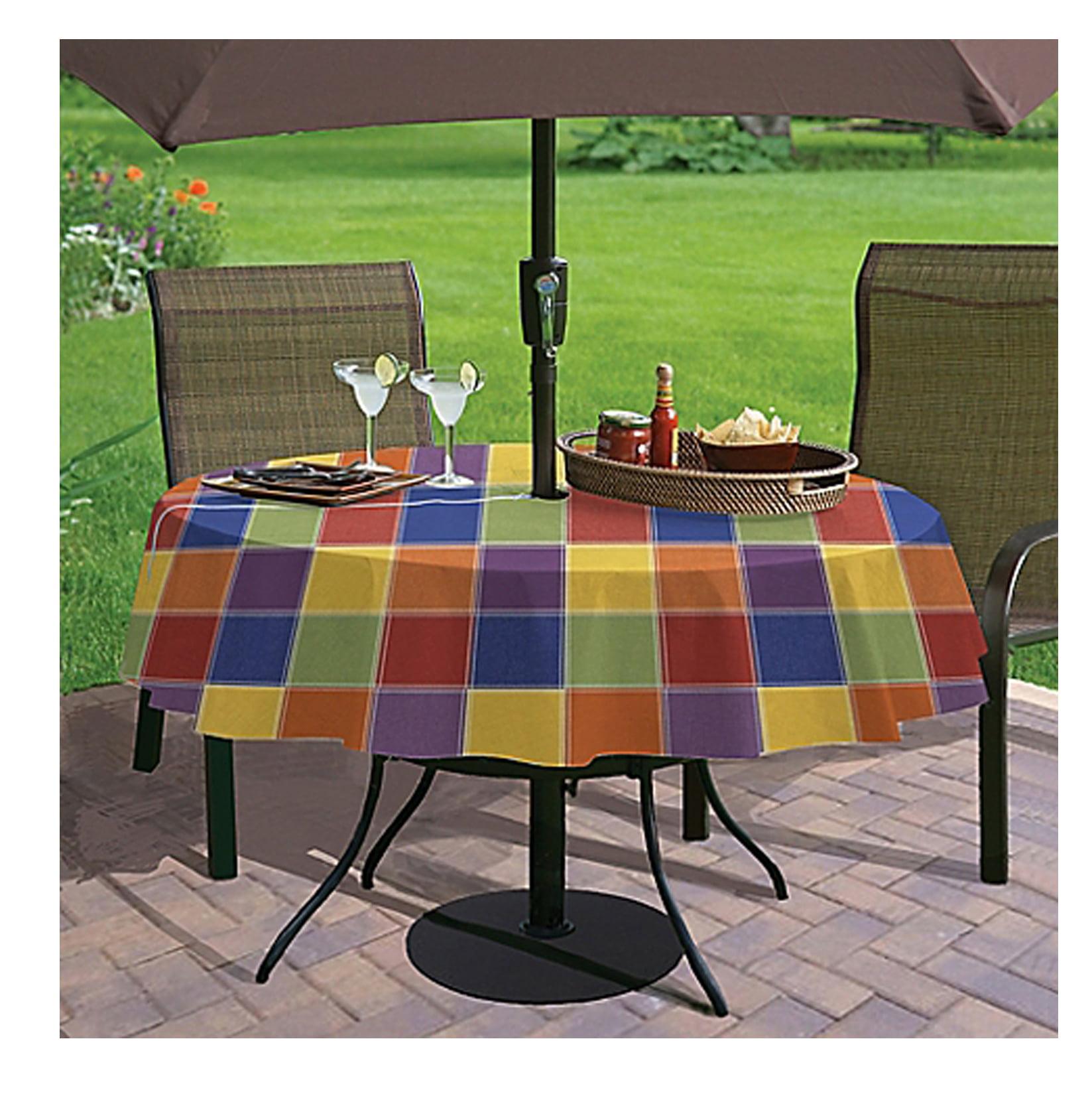 Round Umbrella Vinyl Tablecloth With Zipper Round Table