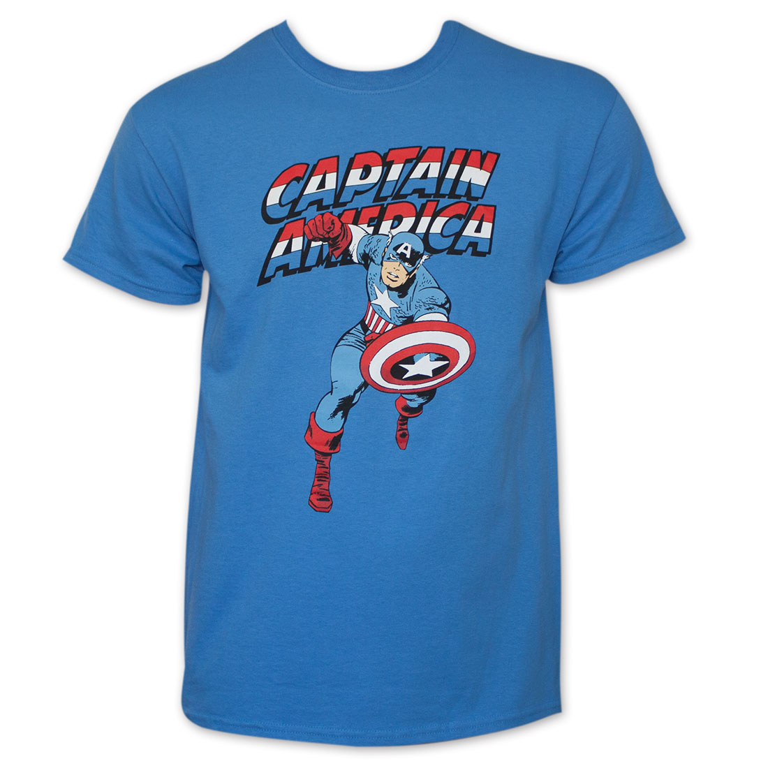 Blue Captain America Charging T-Shirt