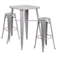 Flash Furniture Mason 3 Piece Pub Table Set with Backless Chairs