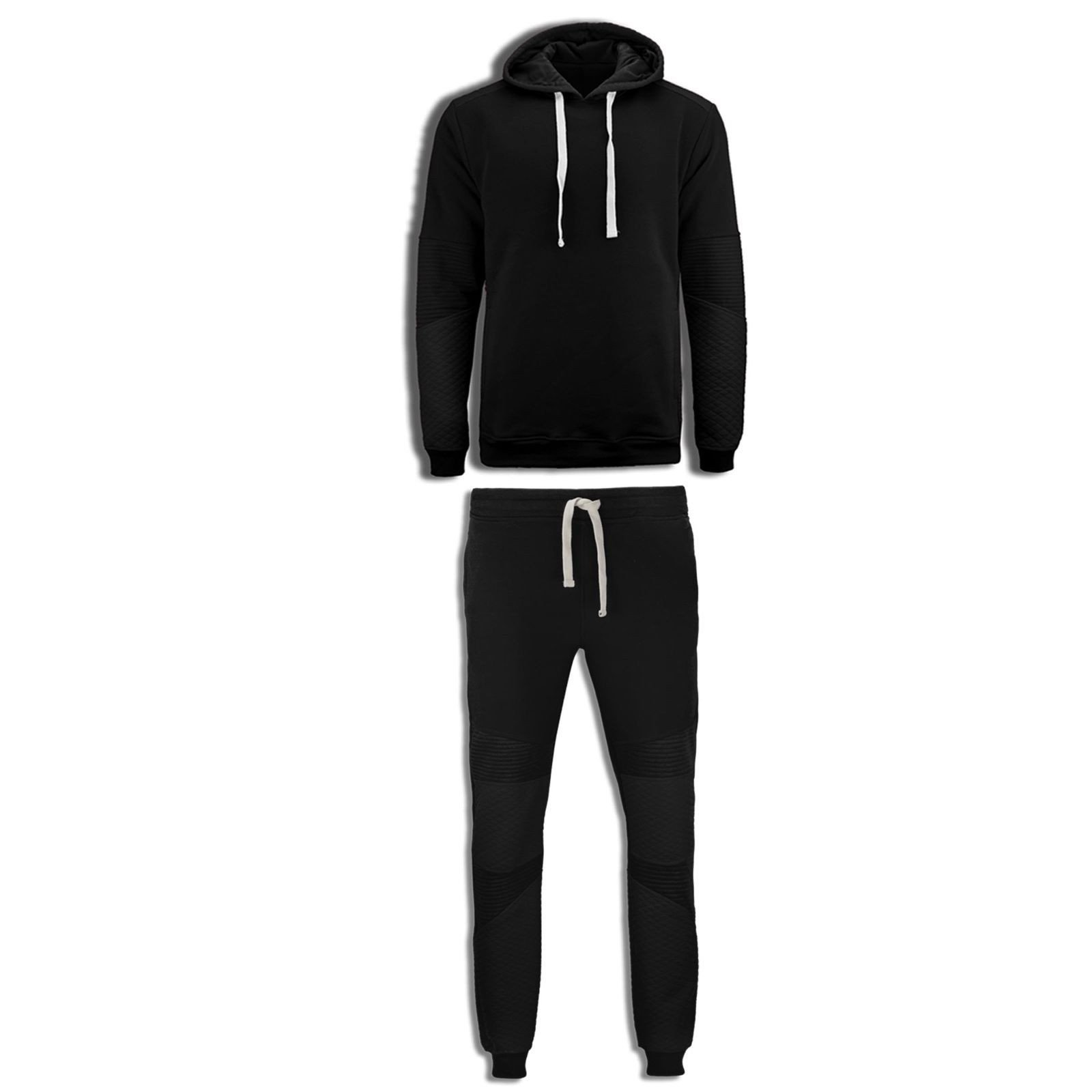 NEW Men Fleece Sweat Suit Quilted Biker Joggers Jacket Ho...