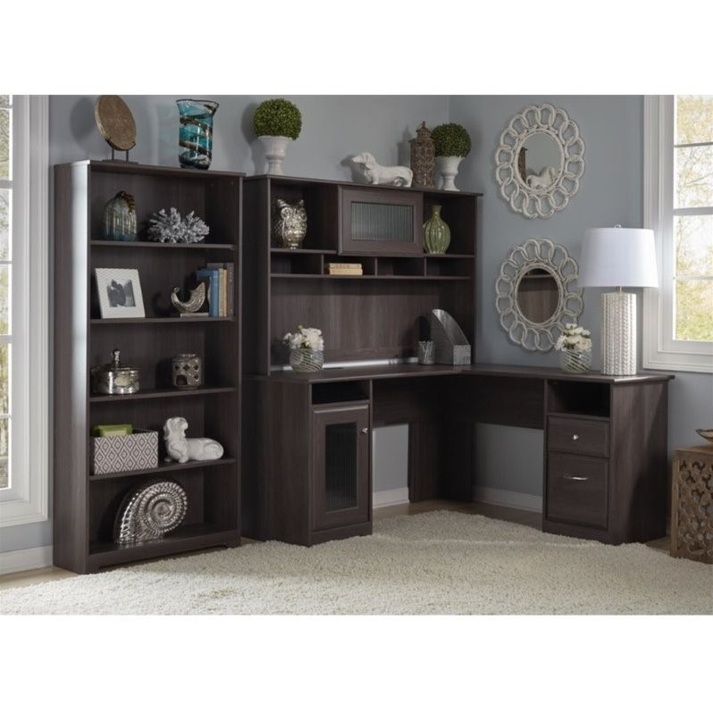 "Bush Cabot 60"" L-Shape Desk with Hutch and 5 Shelf Bookcase in Heather Gray"