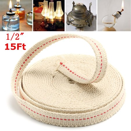 Aimeeli 1 2 Quot 15ft 4 5m Flat Cotton Oil Lamp Wick Roll White For Oil Lamps And Lanterns Walmart Com