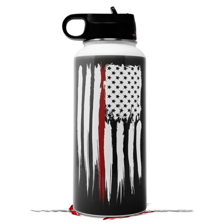 Skin Wrap Decal compatible with Hydro Flask Wide Mouth Bottle 32oz Brushed USA American Flag Red Line (BOTTLE NOT INCLUDED)