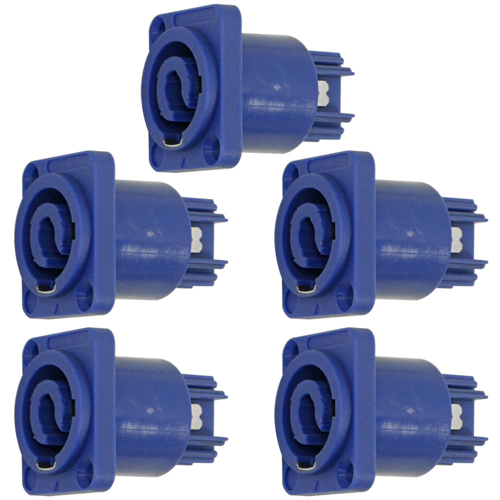Seismic Audio 5 Pack of Panel Mount Power Cable Receptacles - Fits D Series Pattern Holes Blue - SAPT231-5Pack