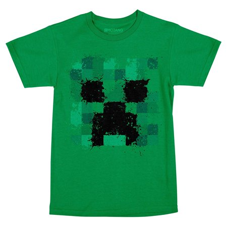 Minecraft Splatter Creeper Youth T-Shirt Green - Minecraft Green