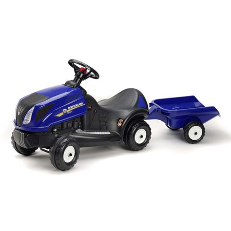 Falk FA3070B New Holland T7 Push Along Tractor with Trailer, Blue - 1.5 Years Okidata Bottom Feed Push Tractor
