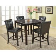 Roundhill Furniture Praia 5 Piece Artificial Dark Marble Pub Dining Table and Chairs