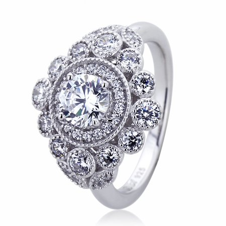 Men's Platinum Plated Sterling Silver 1ct Round CZ Halo Vintage Style Ladies Cocktail Ring ( Size 5 to 9 ), 5