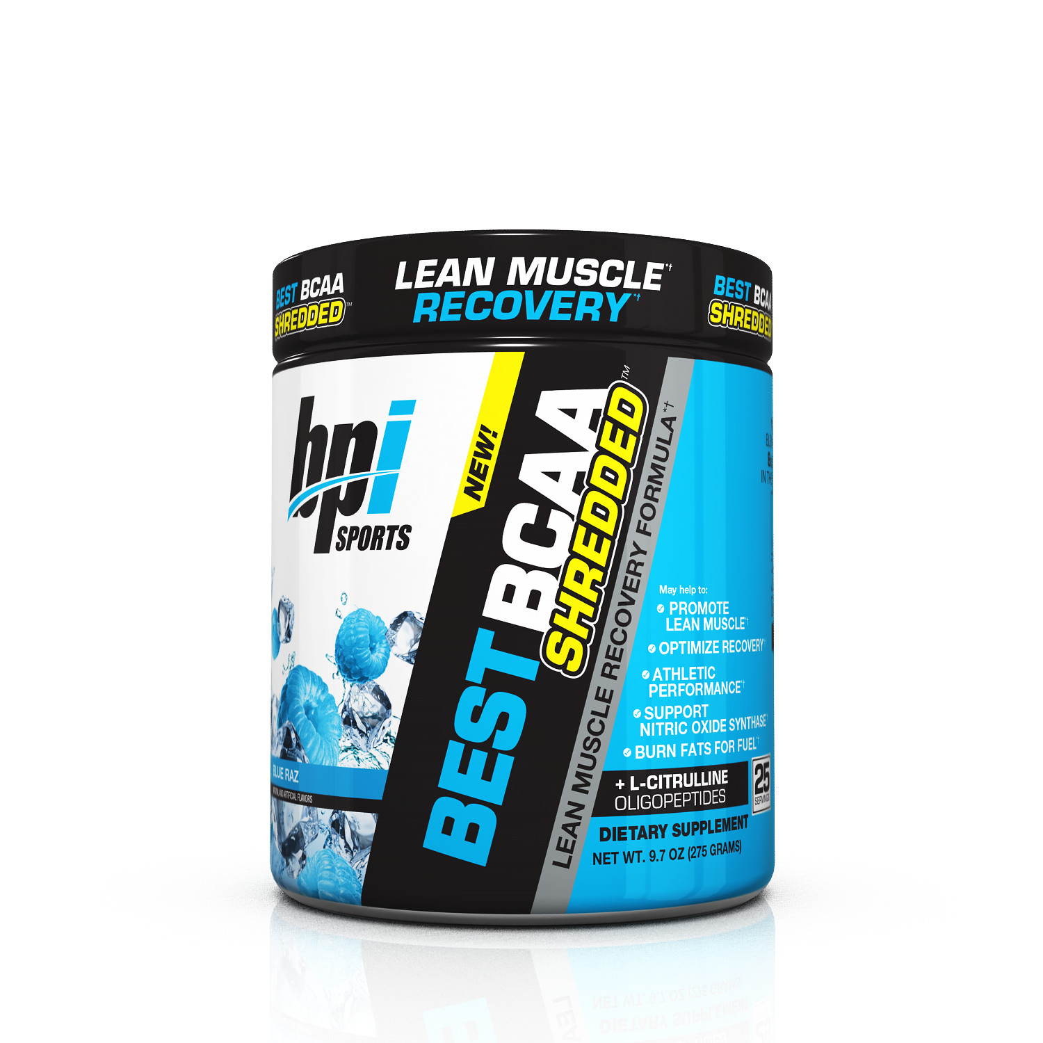 BPI Sports Best BCAA Shredded Powder, Blue Raz, 25 Servings