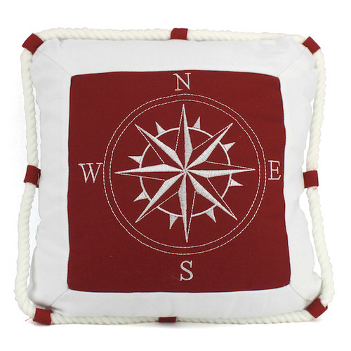 Handcrafted Nautical Decor Compass with Nautical Rope Decorative Throw Pillow by Handcrafted Model Ships