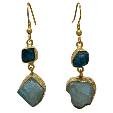 Handmade Collections Gold Overlay Apatite and Aqua Rough Gemstone Earrings (India)