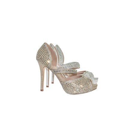 56f3cd7df Barbara85 by Bonnibel, Pearl Rhinestone Crystal Embellished Peep Toe  D'Orsay Mary Jane Pump