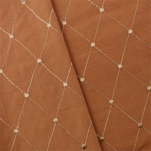 Burnt Orange Diamond Embroidered Taffeta Drapery Fabric, Fabric By the Yard