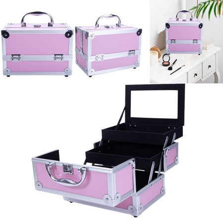 "Zimtown 9""x6""x6"" Pro Aluminum Makeup Train Jewelry Storage Box Cosmetic Bag Lockable Case Organizer"