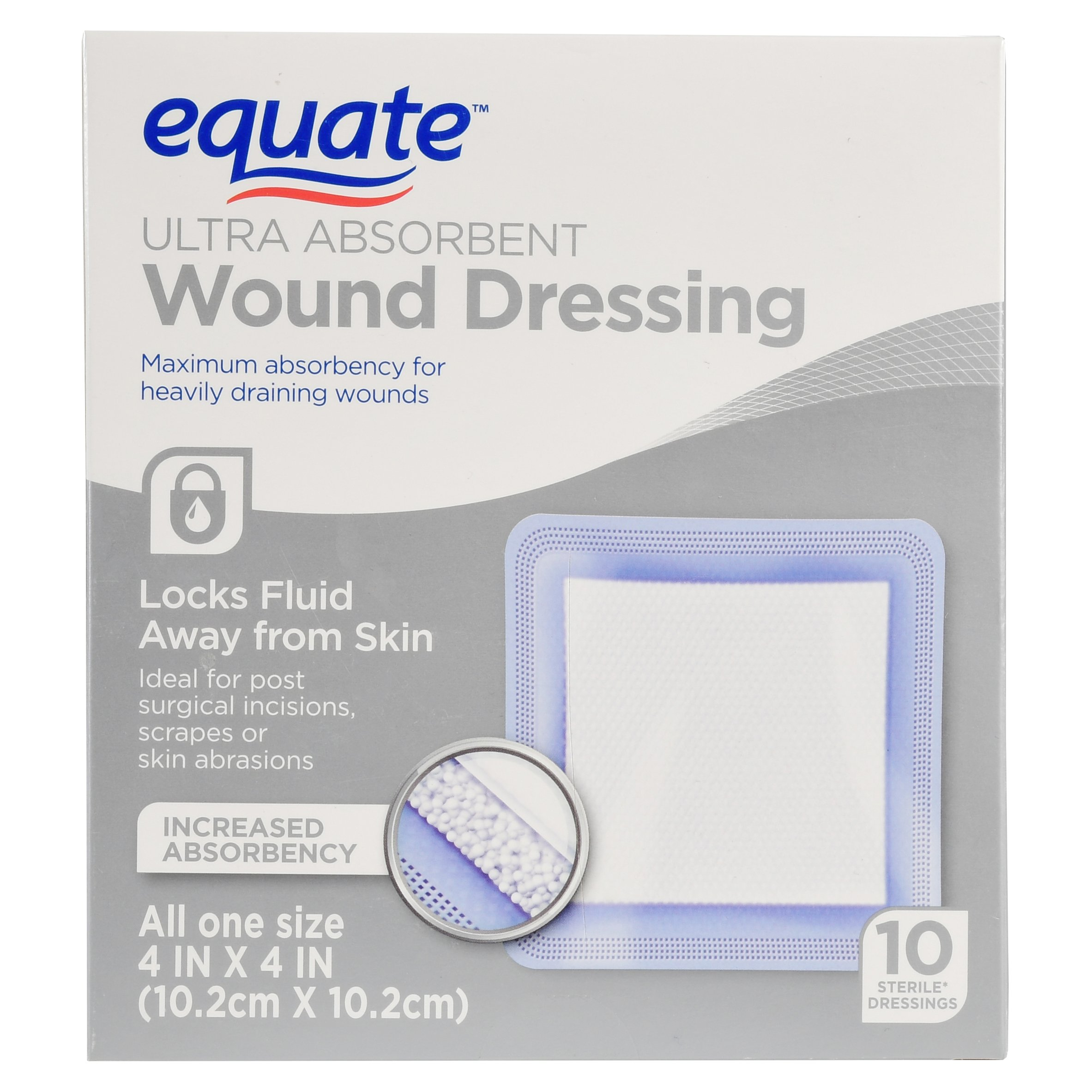 "Equate Ultra Absorbent Wound Dressing, 4"" X 4"", 10 Ct"