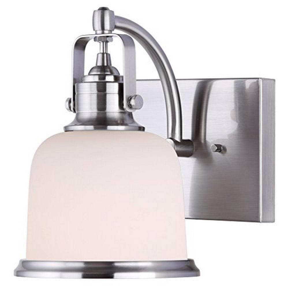Canarm Flannigan 1 Bulb Vanity Light with Flat Opal Glass - Brushed Nickel