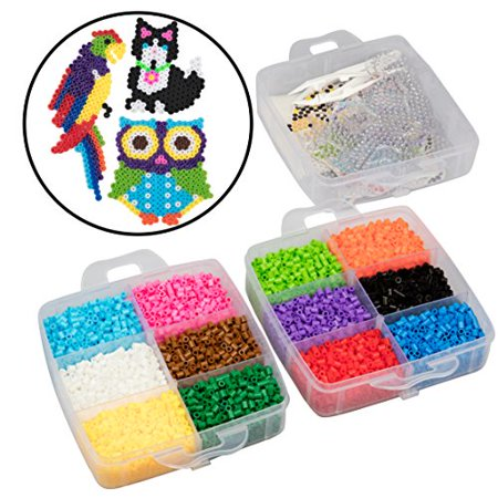 8,000pc Fuse Bead Super Kit w/ Animal Pegboards and Templates - 12 colors, 6 Peg Boards, Tweezers, Ironing Paper, Case - Works with Perler Beads