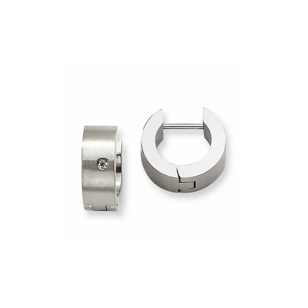 Stainless Steel CZ Brushed & Polished Round 0.2IN Hinged Hoop Earrings. (0.3IN x 38.9IN )