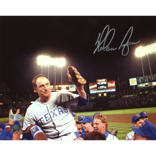 """Nolan Ryan Texas Rangers Fanatics Authentic Autographed 8"""" x 10"""" Hoisted on Shoulders Photograph - No Size"""