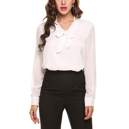Womens Bow Tie Neck Long/Short Sleeve Casual Office Work Chiffon Blouse Shirts (Chiffon Tie)