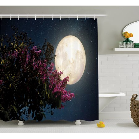 Moon Shower Curtain, Cherry Blossom with Stars from Milky Way Eastern Night Sky Full Moon, Fabric Bathroom Set with Hooks, 69W X 84L Inches Extra Long, Magenta Ivory Dark Blue, by (Best Way To Remove Silicone From Shower)