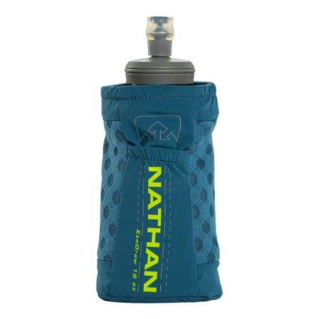 Nathan Handheld ExoDraw/ExoShot 2.0 18oz / 14oz Insulated Soft Flask â?? Portable Hydration Bottle for Marathons, Hiking, Ultra Running and Outdoor Activity Blue Mirage/Nuclear Yellow 18 oz