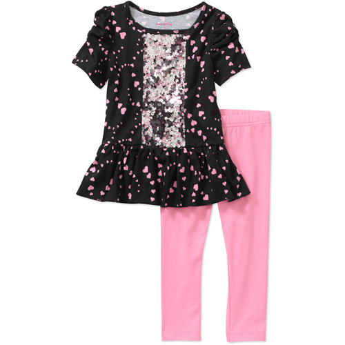 Healthtex Baby Girls' 2 Piece Sequin Tunic and Legging Set
