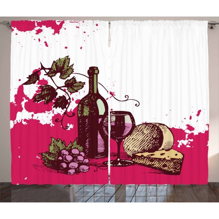 Wine Curtains 2 Panels Set, Vintage Sketchy Artwork Cheese Alcoholic Drink Fruit Abstract Design, Window Drapes for Living Room Bedroom, 108W X 108L Inches, Hot Pink Olive Green Cream, by Ambesonne](Hot Alcoholic Drinks For Halloween)